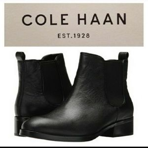 New Cole Haan Black Leather Pull On Ankle Boots